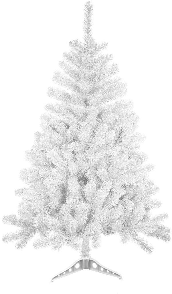 Árbol de Navidad artificial blanco con soporte plástico