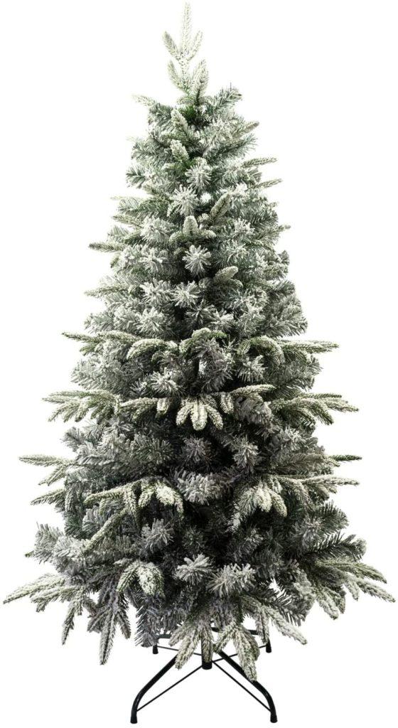 Árbol de Navidad Flocado con Copos de Nieve Abeto Artificial Nevado Automontable
