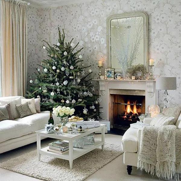 Arboles de navidad salon chimenea rincon