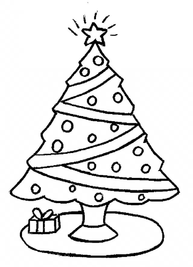 Dibujos de árboles con regalos navideños para pintar