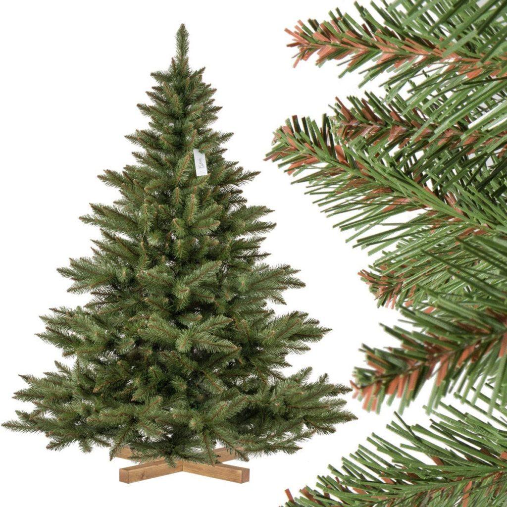 FairyTrees Árbol de Navidad Artificial Abeto NORDMANN, el Tronco Verde, Material PVC, el Soporte de Madera, 180cm