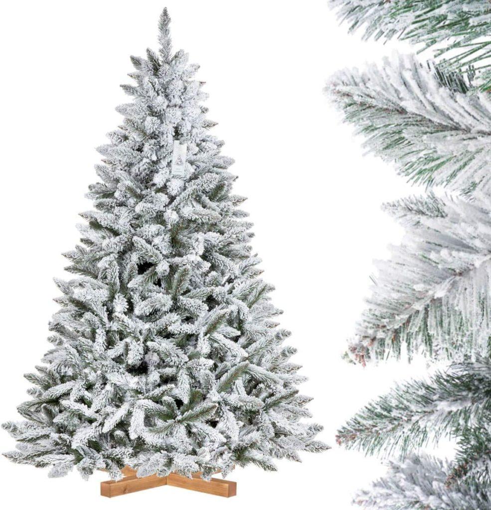 FairyTrees Árbol de Navidad Artificial Artificial Picea, Flocado con Copos DE Nieve, el Tronco Verde, Material PVC, Soporte de Madera, 180cm