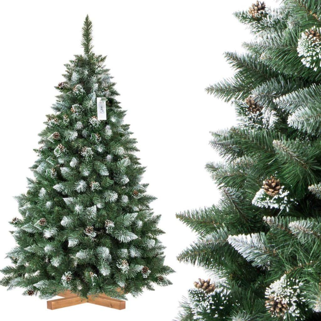 FairyTrees Árbol de Navidad Artificial Pino, Natural Blanco nevado, Material PVC, piñas verdaderas, Soporte de Madera