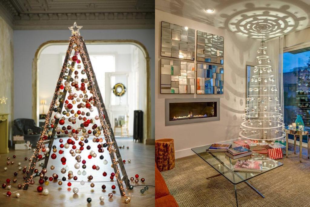 Árbol de navidad sin árbol en el cuarto de los niños