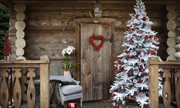 Árbol navidad porche exterior