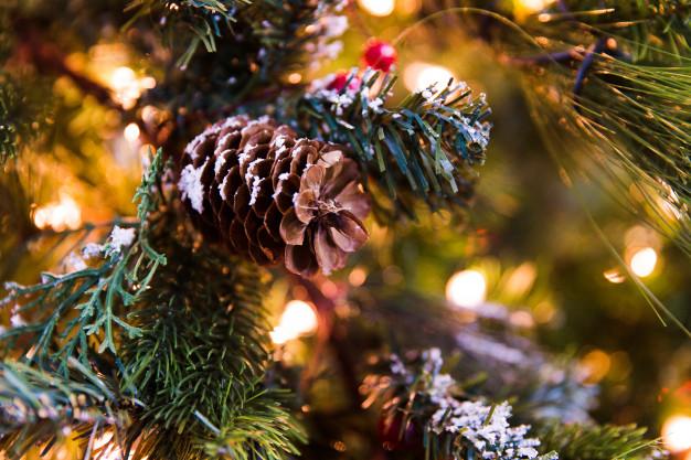 Piñas árbol navidad decoraciones